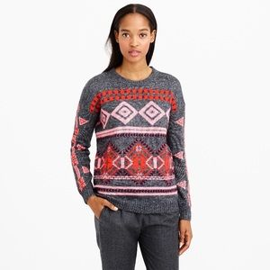 J Crew Fair Isle Abstract Tribal Sweater in Gray